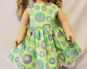 Spring green with flowers and circles doll dress made to fit American Girl or other similar 18 inch dolls