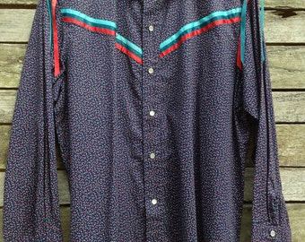 1970's Fabulous Blue Floral and Ribbon Western Shirt