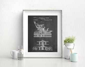 Dentist Chair Patent Poster, Dentist Art, Dental Office Decor, Dental Hygienist Gift, PP0510