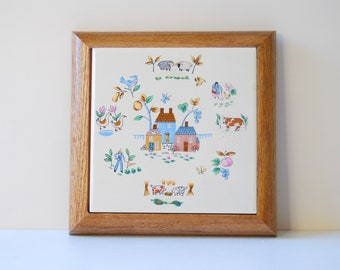 1980s Trivet 'Heartland' Pattern by International. Farmscene in Pastel Tones.