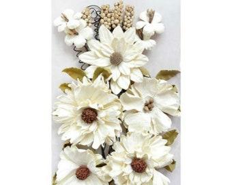 49 & Market Botanical Blends Buttermilk - 49 And Market Buttermilk Flowers - Buttermilk Scrapbook Flowers - Botanical Embellishment - 1-059