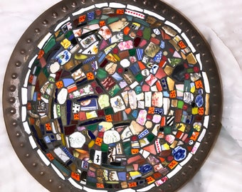 Colorful mosaic bowl