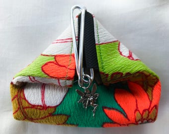 Lovely coin purse, repurposed fabric, green liner, fairy charm,hand made