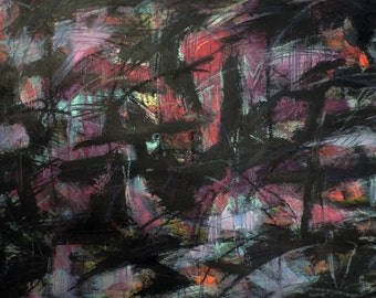 Dark 6-21-15 (abstract expressionist painting, black, blue, red, purple, magenta)