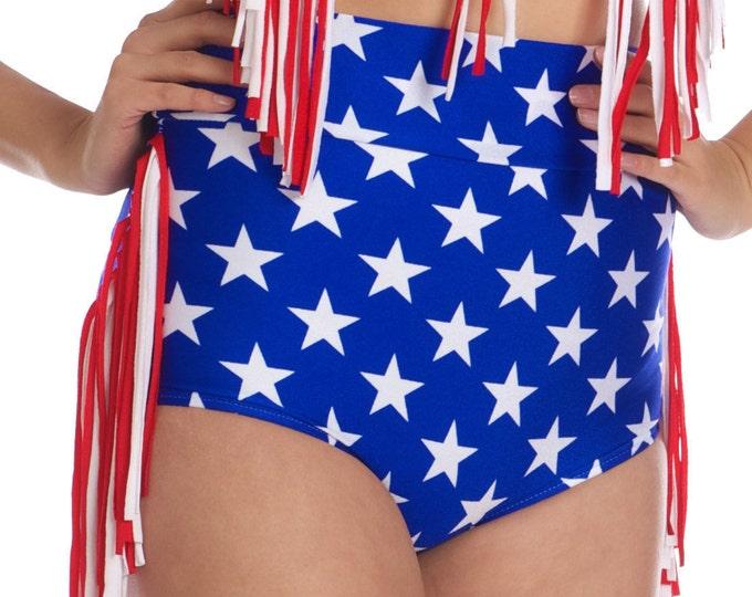 Annie Western Cowgirl Fringe Bikini Bottom in Stars and Stripes XS ONLY