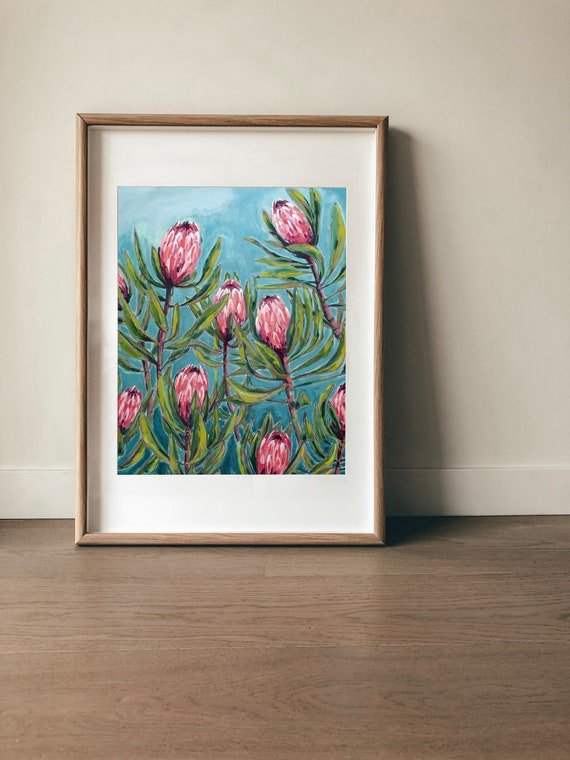Pink Protea Painting Archival Wall Art Print Illustration Australian Native art prints