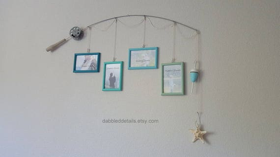 Fishing Pole Picture Frame - Silver Pole - 4 - 4 in x 6 in Picture Frames - Laguna, Sea Breeze, Caribbean, Sea Glass
