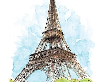 Paris France / art print from an original watercolor painting
