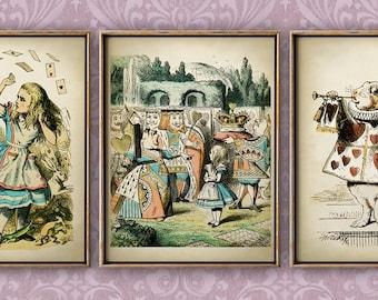 Alice in Wonderland print SET of 3, Alice in Wonderland poster, children illustration wall decor, fantasy rabbit print, children room decor