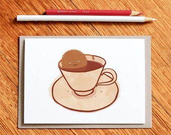 Funny Birthday Card, Cookie Card, Tea Card, Funny Card, Card for Dad, Card for Mum, Best Friend Card