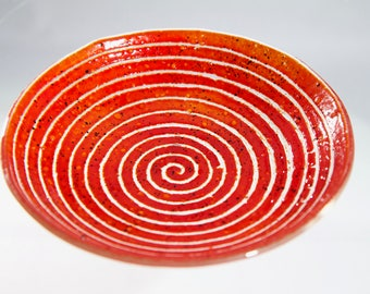 Red textured spiral bowl