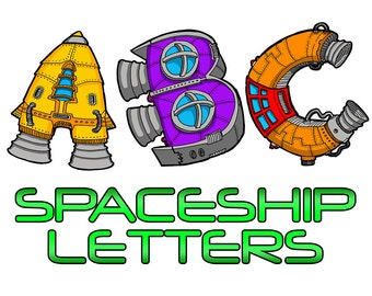 ABC, 123 Spaceship Letters alphabet coloring book by Sean McMenemy, Colorbook4nerdlings