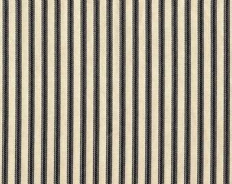 Round Tablecloth Black Ticking Stripe