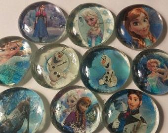 10 Frozen themed glass gem bubble magnets Disney Elsa