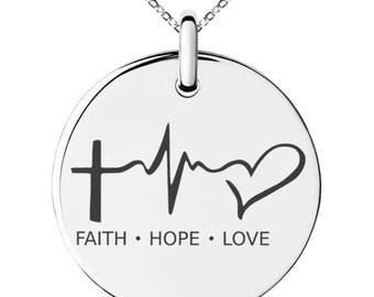 Stainless Steel Faith Hope Love Lifeline Engraved Small Medallion Circle Charm Pendant Necklace / Silver / Black / Rose / Gold