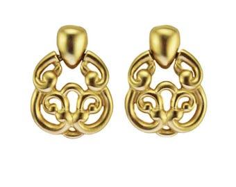 Vintage Anne Klein Earrings, Anne Klein Gold Dangle Earrings, Anne Klein Brushed Gold Earrings