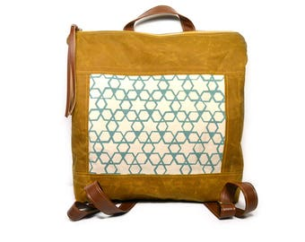 bucket backpack • waxed canvas backpack • brown waxed canvas - handprinted aqua blue - geometric print - brown leather • summer style