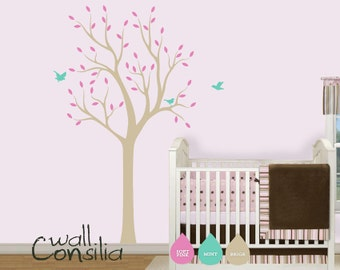 "Nursery Tree Wall Decal Wall Sticker - Tree Wall Decal - Tree Decals - Large: approx 75"" x 38"" - W013"