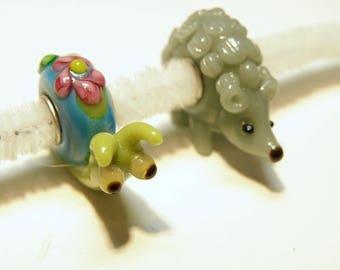 Choice of Large Hole Lampwork Animal Bead: Hedgehog or Snail--- Lot 4K