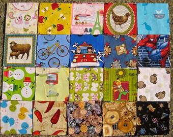 """I Spy Fabric Squares,  4"""" squares, set of 90 fabric squares"""