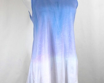 Cotton Tank Top, hand dyed tunic, Ombre dyed tunic top, Powder blue and white ombre dyed, Asymmetric Cotton Tank Tunic, size S summer top