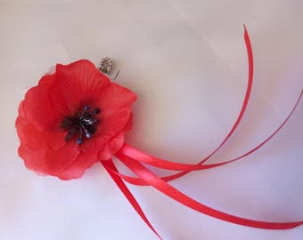 PIN back train poppy for wedding dress