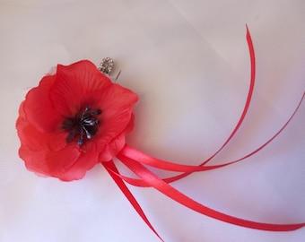 PIN back train poppy for wedding dress