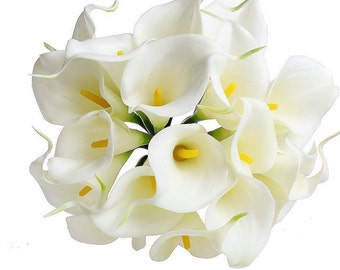 calla lily bouquet White real touch Calla Lily stems or bundle for wedding bouquets, 10pcs