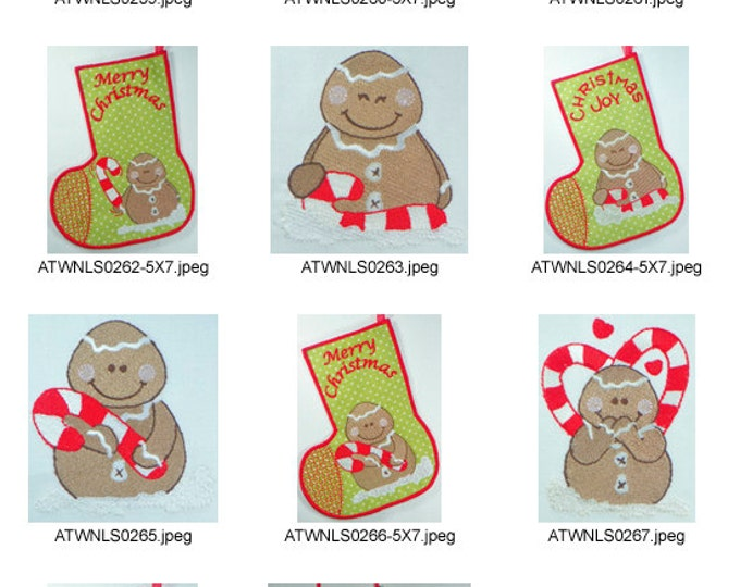 Gingers-World-Stocking-Project  5X7 ( 5  Machine Embroidery Designs from ATW ) XYZ17B