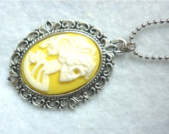 Dead Lady Necklace White On Yellow - Color Skull Skeleton Halloween Gothic Macabre