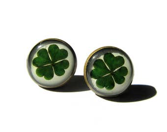 FOUR LEAF CLOVER earrings - St patrick leaf - Shamrock earrings - Saint patricks day - Green shamrock - Luck earrings