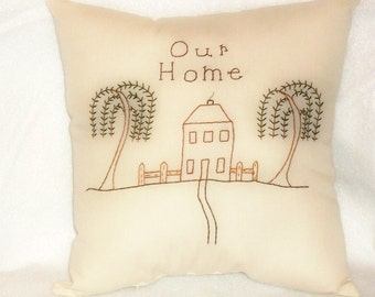Pillow Stitchery Personalized  Primitive Saltbox Folk Art Original Design Our Home Design