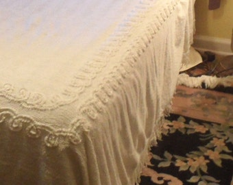 White cotton chenille bedspread cutter As Is / vintage full size cover