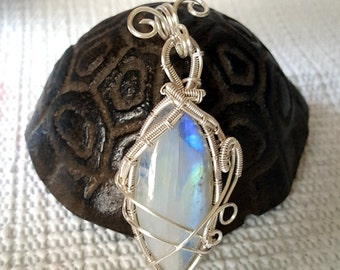 Wire Wrapped Rainbow Moonstone in Silver Pendant
