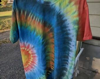 Side Circle Yellow-Blue T-Shirt Tie Dye