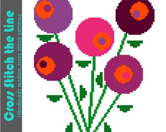 Modern retro floral cross stitch pattern in bright pinks. Contemporary embroidery chart. Minimalist design. 'Lollipop flowers'.