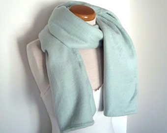 Vintage Esprit Scarf - Pastel Aqua 100% Acrylic Fleece. 1980s New Wave Long Scarf Retro Funky Warm and Cozy Gifts Under 30 Winter Fashion