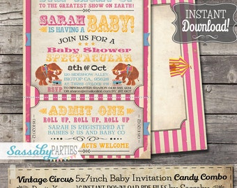 Vintage Circus Baby Shower Invitation - INSTANT DOWNLOAD - Candy Combo Editable & Printable Carnival Invite by Sassaby Parties