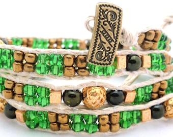 Handmade Four Wrap Hemp Wrap Bracelet with Green and Gold Glass Seed Beads and 6mm Green Glass Beads and Gold Tone Metal Accent Beads