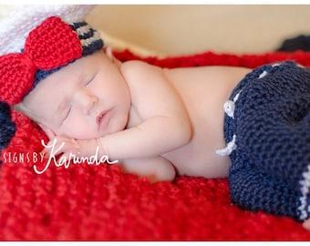 Nautical Sailor Set Newborn Photo Prop