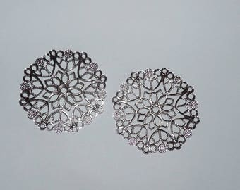 prints 2 rosette filigree connector 50mm diameter silver metal