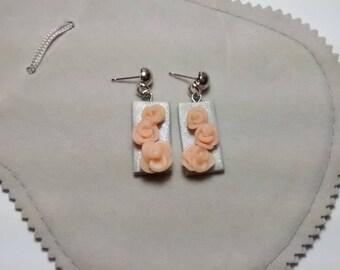 orecchini rettangolo rose