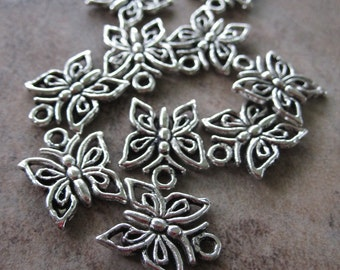 10 Antiqued Silver Pewter Butterfly Charms - 12X12mm - JD82