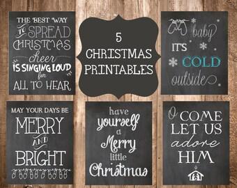 5 Chalkboard Christmas Printables-5x7 Printables