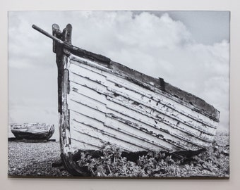 "Old Longshore Boat -  An Original Photo Canvas in Monochrome ""  (A3) 16 x 12 inches"
