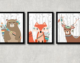 Tribal Animals Set - Printable Nursery Wall Decor, Woodland Creatures Art, Boy Baby Shower Poster, Play Room Wall Art, Bear, Fox, Deer
