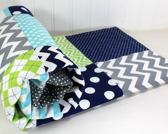 Baby Blanket Nursery Decor Minky Blanket Baby Quilt Baby Shower Gift Baby Bedding Lime Green Navy Blue Gray Grey Aqua Blue Baby Boy