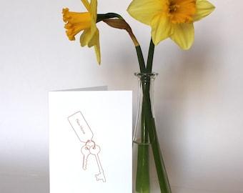 New Home - Letterpress Greetings Card - Keys