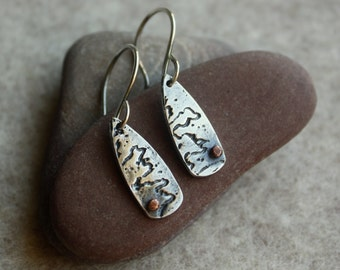 Silver River Earrings- Silver Earrings, Artisan Earrings, Mixed Metal Earrings, Copper Earrings