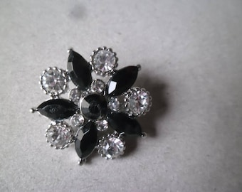 x 1 snap (jewel) rhinestone flower black silver 24 mm